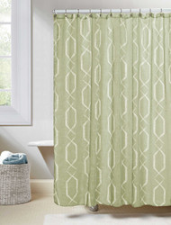 "Sage Green Linen Textured Sheer Fabric Shower Curtain: White Geometric Design, 70""W x 72""L"