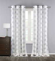 "Set of Two (2)  Pure White  Cotton Blend Sheer Window Curtain Panels: Burnout Trellis Design, Silver Grommets, 76"" x 84"""