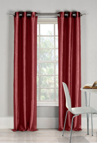 "Two (2) Garnet Window Curtain Panels: Faux Silk, Silver Grommets, 76"" x 84"""