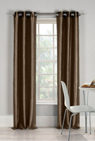 "Two (2) Chocolate Brown Window Curtain Panels: Faux Silk, Silver Grommets, 76"" x 84"""