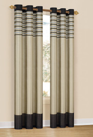 "Set of Two (2)  Window Curtain Panels: Black with Taupe, Embroidered, Grommets, 76"" x 84"""