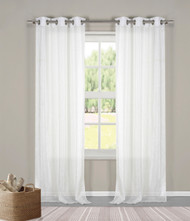 "Two (2) Sheer Grommet Window Curtain Panels: White Metallic, 76"" x 84"""
