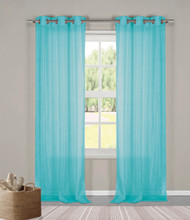 "Two (2) Sheer Grommet Window Curtain Panels: Turquoise Metallic, 76"" x 84"""