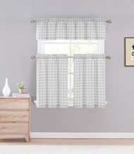 Gray 3 Piece Gingham Check Kitchen Window Curtain Set: Plaid, Cotton Rich, 1 Valance, 2 Tier Panels