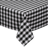 "Black and White Checkered Kitchen/Dining Room Tablecloth: Gingham/Plaid Design, Cotton Rich, 54""x72"", 58""x102"", 58""x84"" and 70""Round"