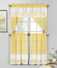 3 Piece Yellow and White Sheer Window Curtain Set: Fruit Basket Embroidery, 2 Tiers, 1 Swag Valance