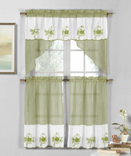 3 Piece Sage Green and White Sheer Window Curtain Set: Fruit Basket Embroidery, 2 Tiers, 1 Swag Valance