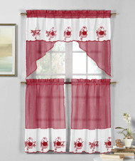 3 Piece Burgundy Wine and White Sheer Window Curtain Set: Fruit Basket Embroidery, 2 Tiers, 1 Swag Valance