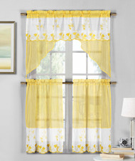 3 Piece Yellow and White Sheer Window Curtain Set: Strawberry Field Embroidery, 2 Tiers, 1 Swag Valance