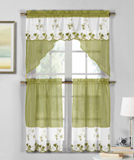 3 Piece Sage Green and White Sheer Window Curtain Set: Strawberry Field Embroidery, 2 Tiers, 1 Swag Valance