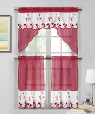 3 Piece Burgundy Wine and White Sheer Window Curtain Set: Strawberry Field Embroidery, 2 Tiers, 1 Swag Valance
