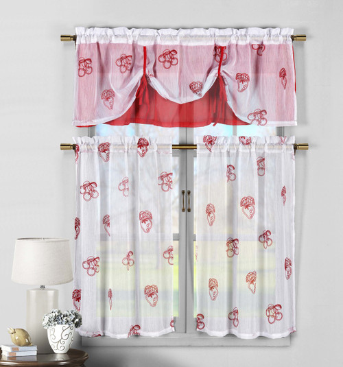Fruit Pattern Kitchen Curtains: 3 Piece White And Red Sheer Window Curtain Set: Fruit