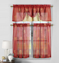 3 Piece Red and Gold Sheer Window Curtain Set: Fruit Embroidery, 2 Tiers, 1 Double Layer Valance