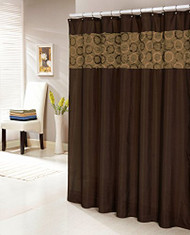 "Chocolate Brown Faux Silk Shower Curtain with 14"" Textured and Circle Patterned Stripe"