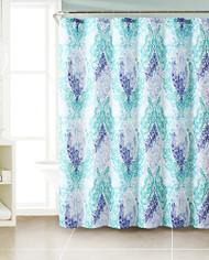 "Green, Blue and Navy Dobby Fabric Shower Curtain: Paisley Floral Design. 72"" x 72"""