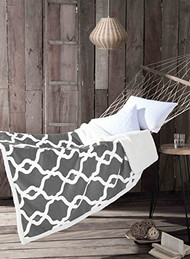 "Gray Reversible Sherpa Plush Fleece Throw Blanket: Moroccan Trellis Design, Soft and Plush, 50"" x 60"""