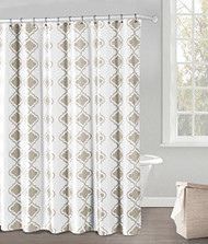 "White and Taupe Fabric Shower Curtain: Taupe Moroccan Tile Design, 70"" x 72"""