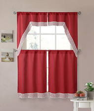 Red 4 Piece Kitchen Window Curtain Set: Lace Border, 2 Swag and 2 Tier Panels