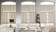 Wheat Color 3 Piece Window Curtain Set: Linen Blend, Burlap Look, 1 Valance, 2 Tiers