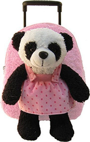 2-in-1 Kids Plush Rolling Suitcase/Backpack with Stuffed Animal -Panda with Pink/Red Polka Dot Bag