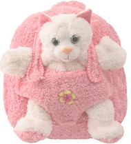 Kids Pionk Plush Zipper Backpack and Stuffed White Kitten in Pouch