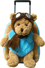 2-in-1 Kids Plush Rolling Suitcase/Backpack with Stuffed Animal - Aviator Bear with Blue Bag