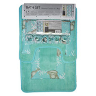 4 Pc Aqua Blue and Gray Bath Set: Shower Curtain, 2 Bath Mats/Rugs, 12 Piece Matching Fabric Hooks, Shell and Coral Design