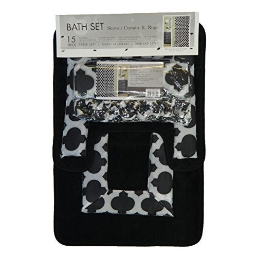 4 pc black and gray bath set shower curtain 2 bath mats for 4 piece bathroom designs