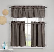 3 Piece Faux Cotton Kitchen Window Curtain Panel Set with 1 Valance and 2 Tier Panel Curtains (Chocolate)