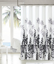 """Soft Microfiber Embossed Shower Curtain: Black, Gray and White Floral Design, 72"""" x 72"""""""