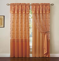 "ORANGE Window Curtain Drapery Panel: Double-Layer, Solid Color Back with Embroidered Sheer Top and Valance, 55""x90"" (1)"