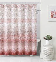 "Dobby Fabric Shower Curtain: Ombre Design, 72"" x 72"" (Coral and White)"