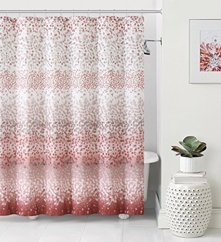 Dobby Fabric Shower Curtain Ombre Design 72 X Coral And