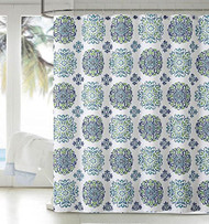 """Dobby Fabric Shower Curtain: Moroccan Medallion Design, 72"""" x 72"""" (Blue and Green)"""