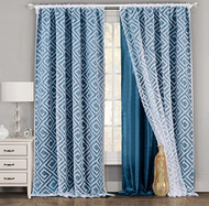 """One Piece (1) Blue and White Window Curtain Panel: Geometric Design, Double Layer, 54""""W x 84""""L (Dark Teal and White)"""