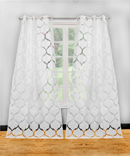 "Set of Two (2) Textured Pure White Sheer Window Curtain Panels: Burnout Moroccan Trellis Design, Silver Grommets, 76"" x 84"""