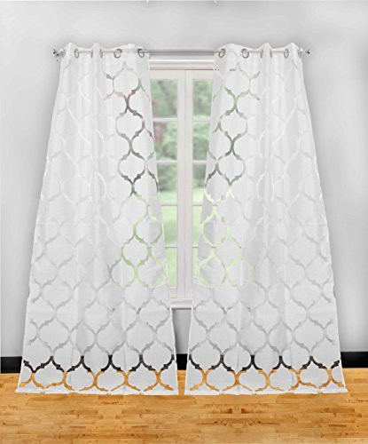 set of two (2) textured pure white sheer window curtain panels