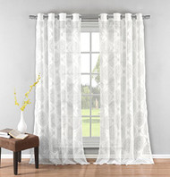 "Set of Two (2) Pure White Textured Sheer Window Curtain Panels: Burnout Moroccan Medallion Design, Silver Grommets, 76"" x 84"""