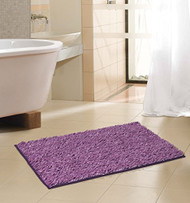 "Royal Purple Soft Chenille Noodle Floor Bath Mat/Rug: 2 Tone, Non-Skid Backing 17"" x 24"""