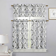 3 Piece Sheer Window Curtain Set: Medallion Design, 2 Tiers, 1 Valance (Black, White and Gray)