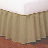 "King Size Ruffled Easy-to-Use Wraparound Bed skirt: Non-Slip Band. 14"" Drop, Mocha Color"