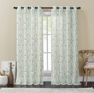 "Ivory and Teal Blue Single (1) Window Curtain Panels: Wide 54"" x 84"", Sheer, Silver Grommets, Branch Design"