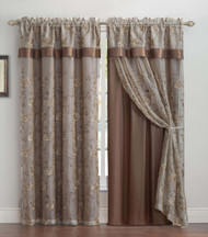 "Chocolate Brown Double Layer Embroidered Window Curtain: Floral Design, Attached Valance, 55""x90"", One Panel"