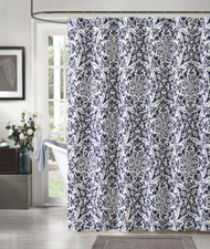 "100% Cotton Navy Blue and White Fabric Shower Curtain: Medallion Design, 72"" x 72"""