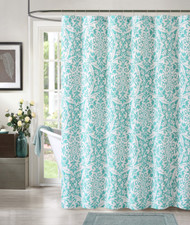 """100% Cotton Teal and White Fabric Shower Curtain: Medallion Design, 72"""" x 72"""""""