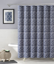 """100% Cotton Fabric Shower Curtain: Navy Blue and White Floral Medallion Design, 72"""" x 72"""""""