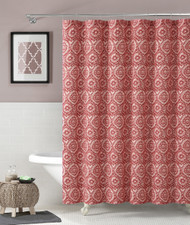 "100% Cotton Fabric Shower Curtain: Coral and White Floral Medallion Design, 72"" x 72"""