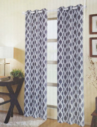 "Set of (2) Charcoal and White Textured Sheer Window Curtain Panels: Moroccan Trellis Design, Metal Grommets, 76"" W x 84"""