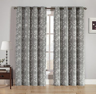 """Singe (1) Silver Gray Grommet Window Curtain Panel: White Embroidered Floral Design, 55"""" W x 84"""" L"""