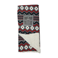 "Reversible Sherpa Plush Fleece Throw Blanket: Multi Colored Southwest Design, Soft and Plush, 50"" x 60"""